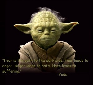 Yoda Fear is the path to the dark side. Fear leads to anger. Anger leads to hate. Hate leads to suffering Yoda